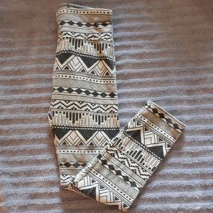 Justice Black and White Tribal Print Leggings